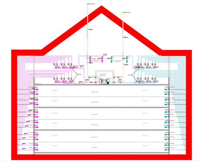 Lüftungsanlage im Mehrfamilienhaus eingebaut